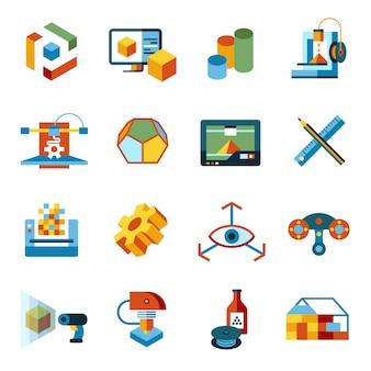 Coleção de ícones de tecnologia de impressão 3d