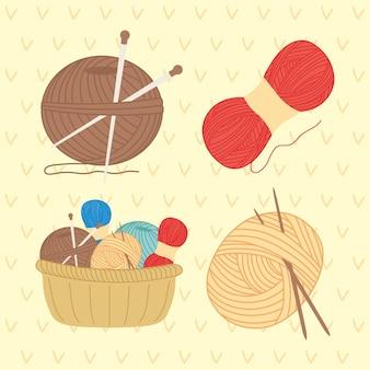 Coleção de ícones de tricô e costura
