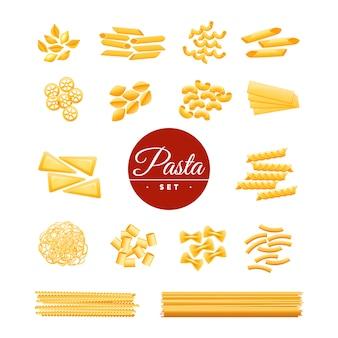 Coleção de ícones de variedades de massas secas de cozinha tradicional italiana de macarrão espaguete