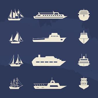 Coleção de ícones de veleiro e navio no pano de fundo grunge