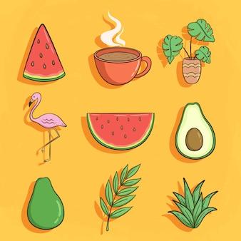 Coleção de ícones de verão bonito com flamingo, abacate e melancia