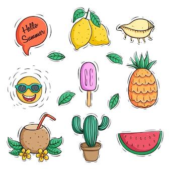 Coleção de ícones de verão coloridas doodle com bebida de coco de abacaxi e melancia