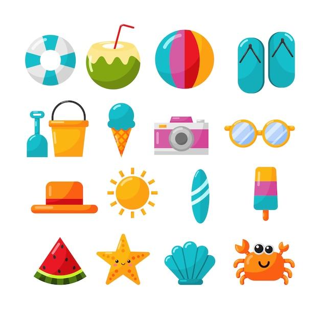 Coleção de ícones de verão isolar em branco