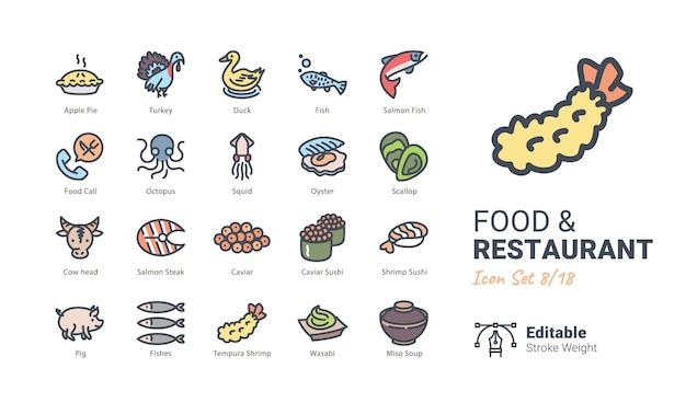 Coleção de ícones de vetor de comida e restaurante
