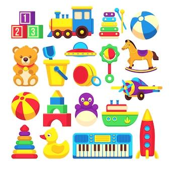 Coleção de ícones de vetor de desenhos animados de brinquedos de crianças