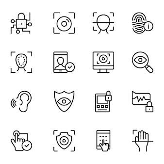 Coleção de ícones de vetor de linha biométrica