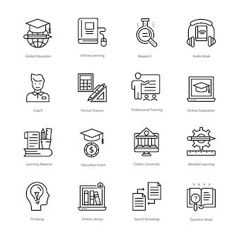 Coleção de ícones de vetor de linha de educação