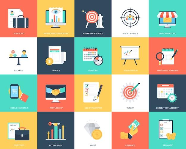 Coleção de ícones de vetor plana seo e marketing