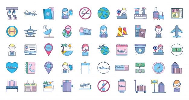 Coleção de ícones de viagens de aviação