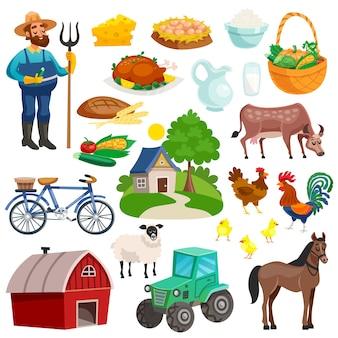 Coleção de ícones decorativos rurais dos desenhos animados