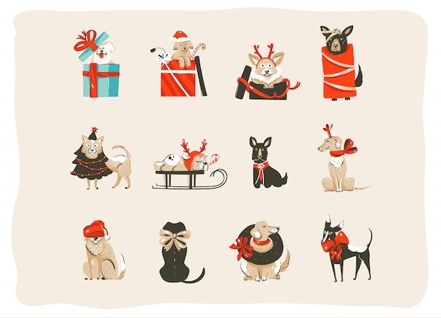 Coleção de ícones definido com cães felizes de mamífero em trajes de árvore de natal feriados isolados no fundo branco
