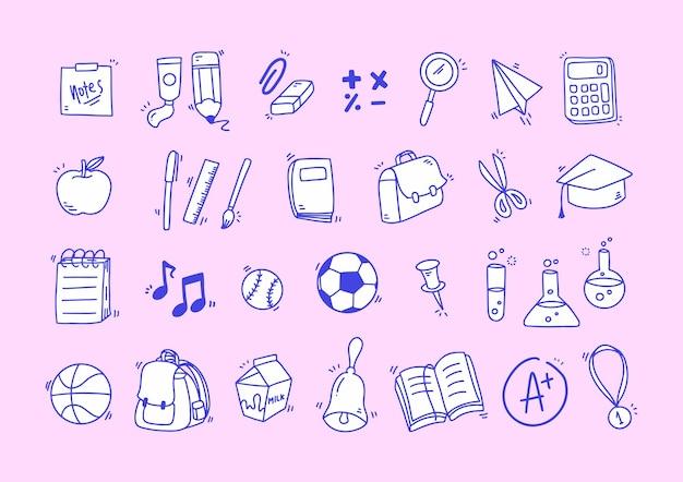 Coleção de ícones desenhados à mão com corte escolar