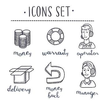 Coleção de ícones desenhados à mão, negócios esboçados a tinta em papel branco