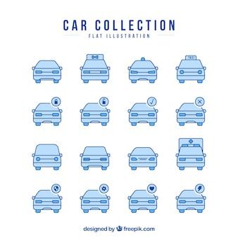Coleção de ícones do carro em tons azuis