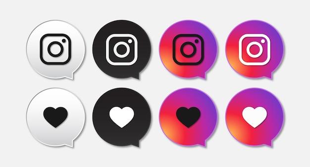 Coleção de ícones do instagram nas redes sociais