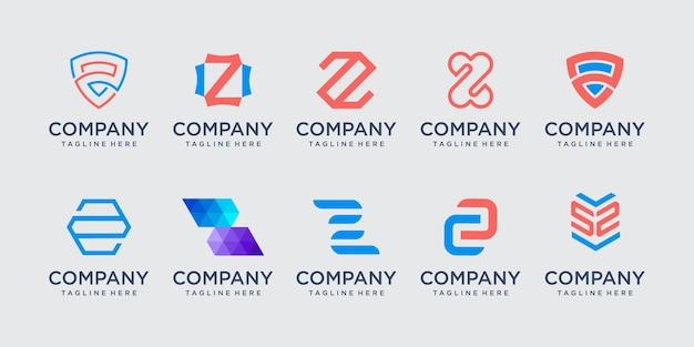 Coleção de ícones do logotipo da letra z cenografia para negócios de tecnologia digital de moda