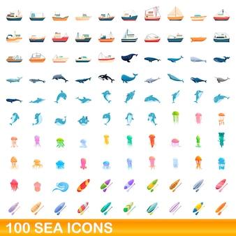Coleção de ícones do mar isolados no branco