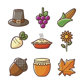 Coleção de ícones do outono