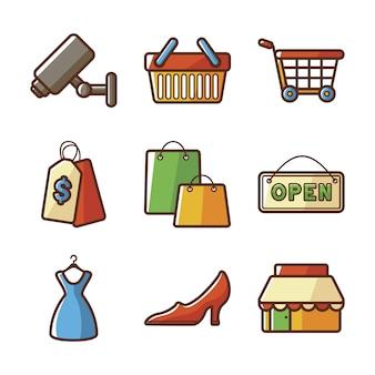 Coleção de ícones do shopping