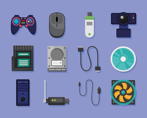 Coleção de ícones do sistema de computador