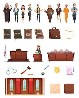 Coleção de ícones dos desenhos animados retrô de justiça penal com juiz de caixa de jurado de livros de direito e sala de audiências