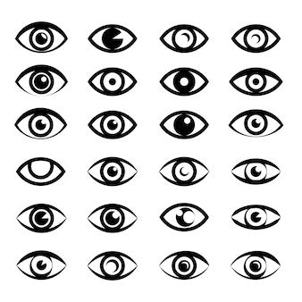 Coleção de ícones e símbolos de olhos, design de logotipo.