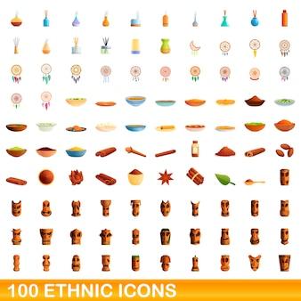 Coleção de ícones étnicos isolados no branco