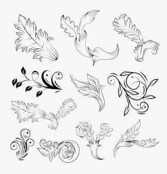 Coleção de ícones florais vintage barrocos Vetor Premium