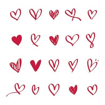 Coleção de ícones ilustrados de coração