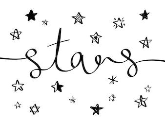 Coleção de ícones ilustrados de estrelas