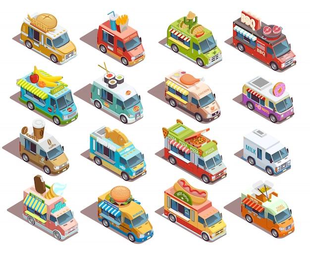 Coleção de ícones isométrica de caminhões de comida de rua