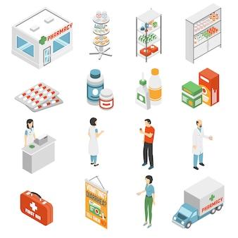 Coleção de ícones isométrica de conceito de farmácia