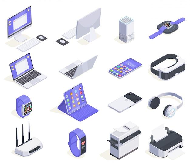 Coleção de ícones isométrica de dispositivos modernos com dezesseis imagens isoladas de periféricos de computadores e várias ilustrações de eletrônicos de consumo