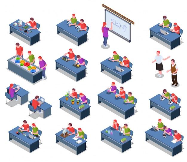 Coleção de ícones isométrica de educação stem com imagens isoladas de mesas com personagens e equipamentos de alunos sentados
