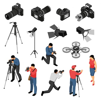 Coleção de ícones isométrica de equipamento profissional fotógrafo com foto de retrato de estúdio atira em câmera zangão luz ilustração vetorial isolado
