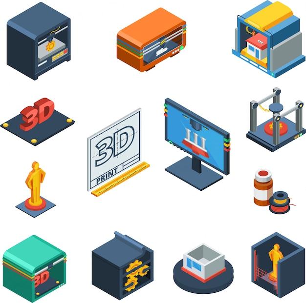 Coleção de ícones isométrica de impressão 3d