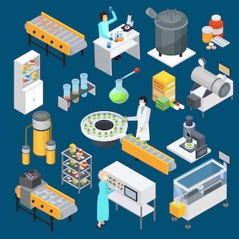 Coleção de ícones isométrica de produção farmacêutica