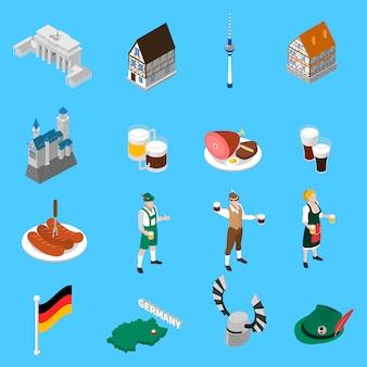 Coleção de ícones isométrica de tradições de cultura alemã