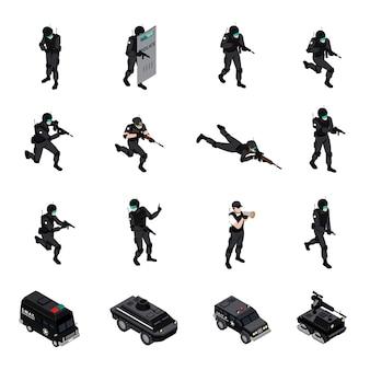Coleção de ícones isométrica de unidade de armas especiais