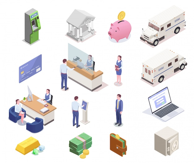 Coleção de ícones isométrica financeira bancário com dezesseis imagens isoladas de funcionários de funcionários do banco dinheiro e veículos ilustração vetorial