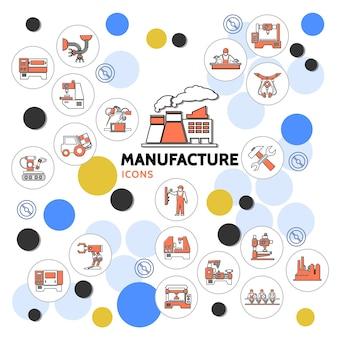 Coleção de ícones lineares de produção com linha de montagem de correia transportadora técnico engenheiro de planta robótico