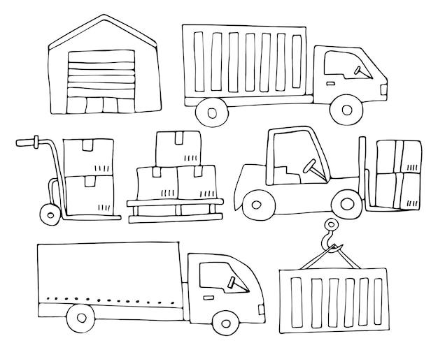 Coleção de ícones logísticos do doodle. conjunto de ícones de logística desenhada de mão.