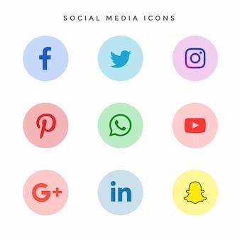Coleção de ícones modernos meios de comunicação social