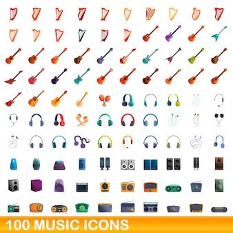 Coleção de ícones musicais isolados no branco