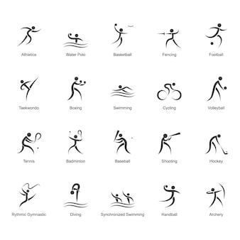 Coleção de ícones olímpicos preto e branco
