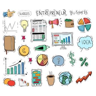 Coleção de ícones ou elementos de negócios com estilo doodle colorido