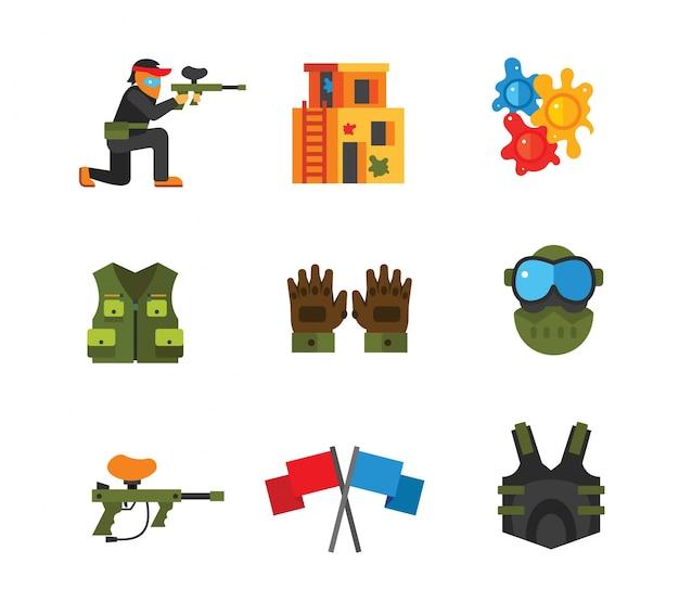 Coleção de ícones paintball