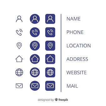 Coleção de ícones para cartão de visita