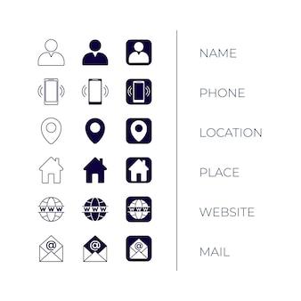 Coleção de ícones para cartões de visita