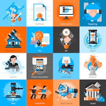 Coleção de ícones para negociação de leilão